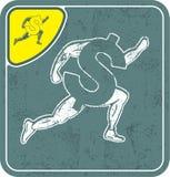 Dollar icon like runner on shabby background vector illustration. Stock Photography