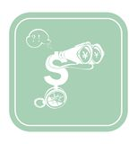 Dollar icon like a tourist on mint background vector illustration. Money flat icon. Cash icon in two colors. Currency sign icon Stock Photo