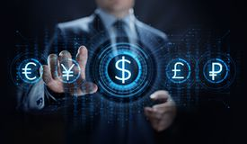 Dollar icon on screen. Currency trading rate Forex Business concept. stock photos