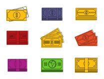 Dollar icon set, color outline style. Dollar icon set. Color outline set of dollar vector icons for web design isolated on white background Royalty Free Stock Image