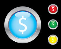Dollar icons. Dollar glass button icons. Please check out my icons gallery Stock Image