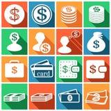 Dollar icons. Set of flat colored simple web icons (dollar sign, money, finance, banking),  illustration Stock Image