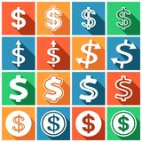 Dollar icons. Set of flat colored simple web icons (dollar sign, money, finance, banking),  illustration Stock Photos