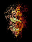 Dollar, illustration of  number with chrome effects and red fire. On black background Stock Photo