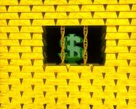 Dollar im Goldrahmen Stockbild