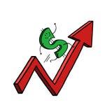 Dollar increase graph illustration. On white background Stock Photo