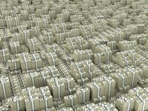 Dollar infinity. Many paks of dollars in stacks on ground royalty free illustration