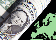 Dollar influence in Europe. Conceptual image showing US Dollar over Europe map royalty free illustration