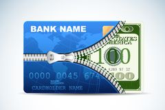 Dollar innerhalb der Kreditkarte Stockfotos