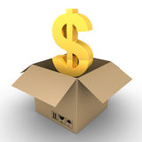 Dollar inside of open parcel. 3d dollar symbol inside of an opened carton box Stock Images