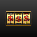 Dollar jackpot - winning in slot machine stock illustration