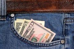 dollar jeansfack Royaltyfria Foton