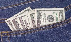 dollar jeansfack Royaltyfri Bild