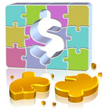 Dollar Jigsaw Concept. Three dimension style and high quality image Stock Images