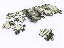 Dollar jigsaw puzzle. One hundred dollar on jigsaw puzzle - rendered in 3d Royalty Free Stock Photo
