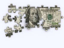 Dollar jigsaw puzzle. One hundred dollar on jigsaw puzzle - rendered in 3d Royalty Free Stock Photography