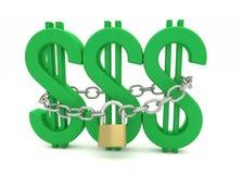 Dollar, kedja och Padlock Royaltyfria Bilder