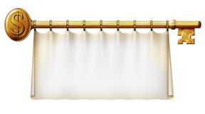 Dollar Key Banner. Photo Illustration of a banner hanging on a gold key with a dollar symbol Royalty Free Stock Photos