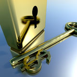 Dollar Key With Gold Padlock Showing Banking Stock Photography