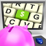 Dollar Key On Monitor Showing American Investments Royalty Free Stock Photos