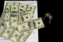 Dollar Key and Receipt royalty free stock photography