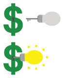Dollar with keyhole and light bulb key unlocking Royalty Free Stock Photo