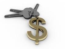Dollar keys. 3d dollar keys over a white background Stock Photography