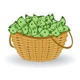 Dollar korg också vektor för coreldrawillustration Finansiellt vinstbegrepp vektor illustrationer