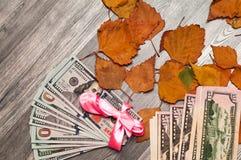 Dollar 100 50 läggas ut och förbinds av en pilbåge Royaltyfri Bild