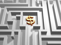 Dollar in labyrinth Royalty Free Stock Photography