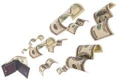 Dollar Lack-Läufer weg von der Mappe getrennt Lizenzfreie Stockfotos