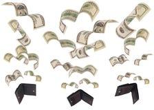 Dollar Lauf weg von drei Geldbörsen lokalisiert
