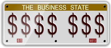 Dollar license plates. White license plates with dollar symbols on it Stock Photography