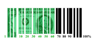 Dollar loading. In the form of a shaped code stock illustration