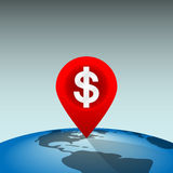 Dollar Location Pin. Location Pin Showing a Profitable Place in the World Stock Photography