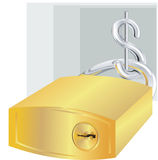 Dollar and  lock. Dollar with lock made of gold Royalty Free Stock Photo