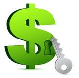 Dollar lock and key. Illustration design over white Royalty Free Stock Photos