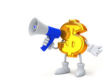 Dollar with a loudspeaker Stock Image