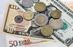 dollar många euro pengar Fotografering för Bildbyråer