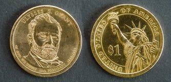 1-Dollar-Münze mit dem Bild von Ulysses S Grant, 18. Präsident der Vereinigten Staaten von Amerika Lizenzfreie Stockfotos