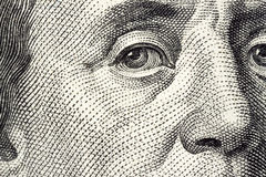 Dollar macro. Portrait details on dollar banknote Stock Image