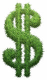 Dollar made of grass. Isolated on a black background. 3D illustration Vector Illustration