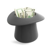 Dollar in magic hat cylinder. On a white background Stock Photography