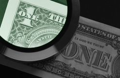 Dollar and magnifier Stock Images