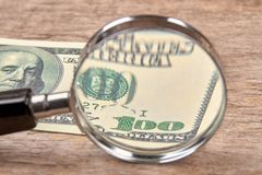 Dollar with magnifier. Magnifying glass and money. Business concept background Royalty Free Stock Image