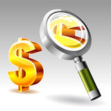 Dollar with magnify glass Royalty Free Stock Image