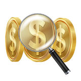 Dollar And Magnifying Glass Vector.. Business Concept. Financial Concept Royalty Free Stock Images