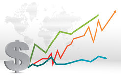 Dollar map and forecast graph illustration. Design Stock Image