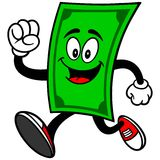 Dollar Mascot Running Royalty Free Stock Photography