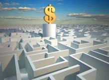 Dollar in maze Stock Photo